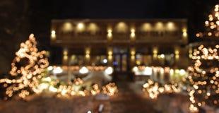 Kerstboom met lichten het gloeien Stock Afbeelding