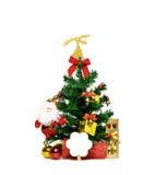 Kerstboom met lint, kaart, vork en lepel in gouden giftvakje, Santa Claus en bal wordt verfraaid op witte achtergrond met exempla Stock Afbeelding