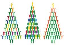 Kerstboom met mensenpictogrammen, vector Stock Afbeeldingen