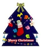 Kerstboom met met de hand gemaakt speelgoed 2017 Stock Foto's