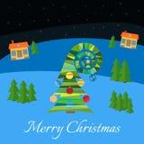 Kerstboom met multi-colored speelgoed Kerstboom in het dorp bij nacht vector illustratie