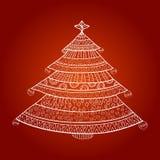 Kerstboom met ornamenten Stock Afbeelding