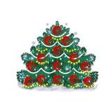 Kerstboom met ornamenten op een witte achtergrond Stock Afbeeldingen