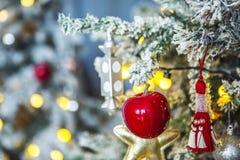 Kerstboom met rijp op spelden Stock Afbeelding
