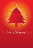 Kerstboom met rode achtergrond vector illustratie