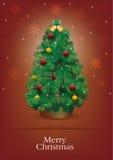 Kerstboom met rode achtergrond Royalty-vrije Illustratie