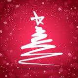 Kerstboom met rode fonkelende achtergrond Royalty-vrije Stock Afbeeldingen