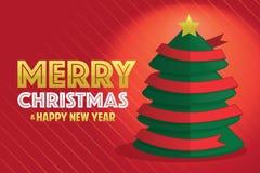 Kerstboom met rood lint Stock Afbeelding