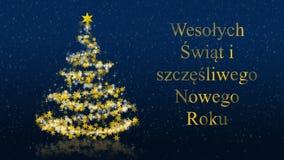 Kerstboom met schitterende sterren op blauwe achtergrond, de groeten van poetsmiddelseizoenen royalty-vrije illustratie