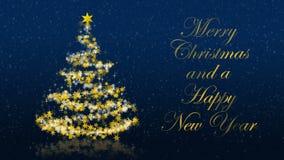 Kerstboom met schitterende sterren op blauwe achtergrond, Engelse seizoenengroeten stock illustratie