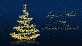 Kerstboom met schitterende sterren op blauwe achtergrond, Franse seizoenengroeten vector illustratie