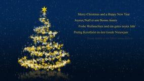 Kerstboom met schitterende sterren op blauwe achtergrond, meertalige seizoenengroeten royalty-vrije illustratie
