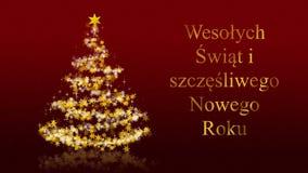 Kerstboom met schitterende sterren op rode achtergrond, de groeten van poetsmiddelseizoenen stock illustratie