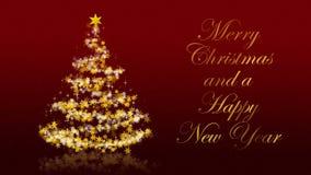 Kerstboom met schitterende sterren op rode achtergrond, Engelse seizoenengroeten stock illustratie