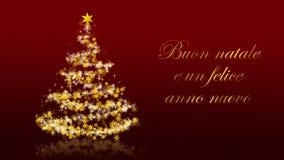 Kerstboom met schitterende sterren op rode achtergrond, Italiaanse seizoenengroeten royalty-vrije illustratie