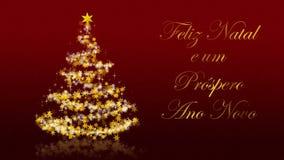 Kerstboom met schitterende sterren op rode achtergrond, Portugese seizoenengroeten stock illustratie