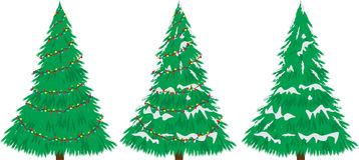 Kerstboom met sneeuw en bollen.   Stock Foto's