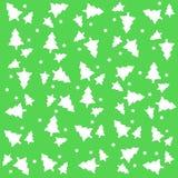 Kerstboom met sneeuw, groen patroon als achtergrond Royalty-vrije Stock Fotografie