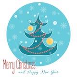 Kerstboom met sneeuwvlok Kerstmishand Stock Illustratie