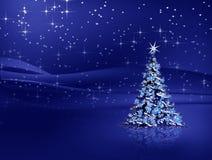 Kerstboom met sneeuwvlokken op blauwe achtergrond Royalty-vrije Stock Afbeeldingen