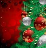 Kerstboom met snuisterijen Royalty-vrije Stock Afbeeldingen