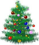 Kerstboom met snuisterijen Royalty-vrije Illustratie
