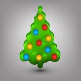 Kerstboom met speelgoed Stock Afbeelding