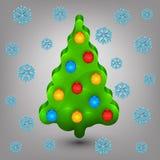 Kerstboom met speelgoed. Sneeuw Royalty-vrije Stock Afbeeldingen