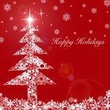 Kerstboom met Sterren en Sneeuwvlokken 2 Royalty-vrije Stock Fotografie