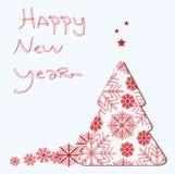 Kerstboom met sterren gelukkig nieuw jaar stock illustratie