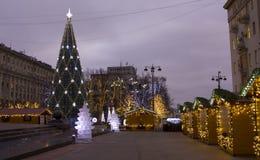 Kerstboom in Moskou Stock Afbeelding