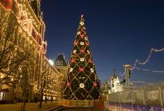 Kerstboom in Moskou Royalty-vrije Stock Afbeeldingen