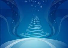 Kerstboom, nachtachtergrond Stock Fotografie