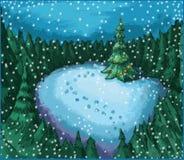 Kerstboom in nachtbos stock illustratie