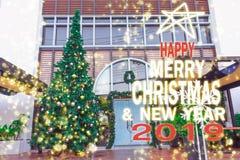 Kerstboom, nieuw jaar, 2019, gelukkige gift, santa, telling neer stock foto's