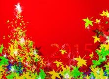Kerstboom & Nieuwjaar 2015 (Nieuwjaar) royalty-vrije stock afbeeldingen
