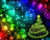 Kerstboom op achtergrond met bokeh Stock Afbeeldingen