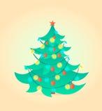 Kerstboom op achtergrond Vector illustratie Stock Fotografie