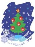 Kerstboom op blauw Stock Afbeeldingen