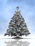 Kerstboom op blauwe achtergrond Stock Afbeelding