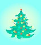 Kerstboom op blauwe achtergrond Vector illustratie Royalty-vrije Stock Fotografie