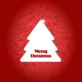 Kerstboom op bloemachtergrond Royalty-vrije Stock Foto