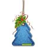 Kerstboom op de denimtextuur Royalty-vrije Stock Afbeeldingen