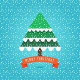 Kerstboom op de sneeuwachtergrond Stock Afbeeldingen