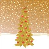 Kerstboom op de winterachtergrond Stock Afbeelding