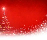 Kerstboom op een bevroren rode achtergrond Royalty-vrije Stock Afbeelding
