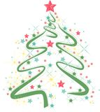Kerstboom op een rode achtergrond De achtergrond van Kerstmis royalty-vrije stock foto's