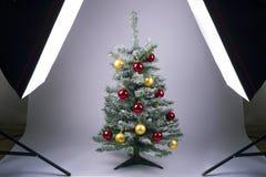 Kerstboom op een witte achtergrond Stock Foto's