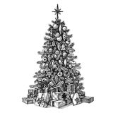 Kerstboom op een witte achtergrond schets Royalty-vrije Stock Afbeelding