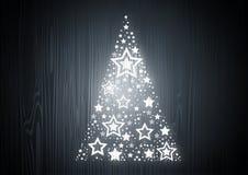 Kerstboom op Eiken Hout stock illustratie